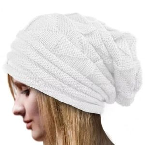 White Unisex Slouch Knitted Beanie